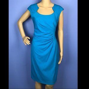 Ellen Tracy Turquoise Blue Sheath Cap Sleeve Dress